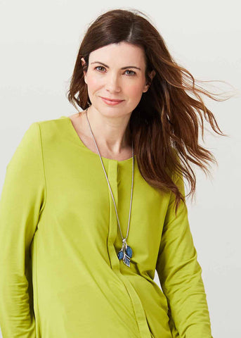 Stella Round Neck Jersey Long Sleeve Velcro Top - Golden Lime