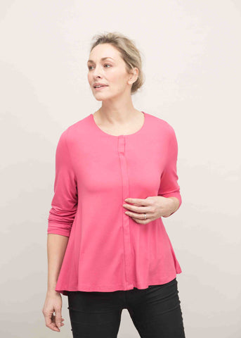 Stella Round Neck Jersey Long Sleeve Velcro Top - Paradise Pink