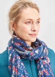 Flower Bouquet Print Pure Viscose Scarf - Navy