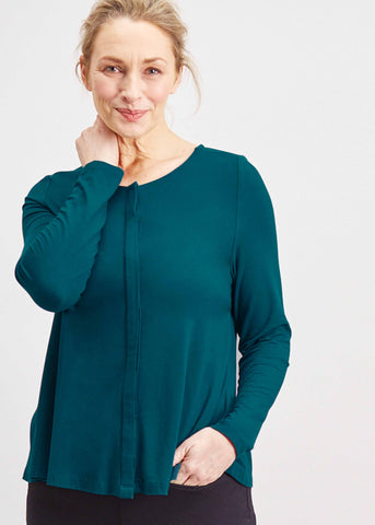 Stella Round Neck Jersey Long Sleeve Velcro Top - Deep Teal
