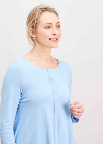 Stella Round Neck Jersey Long Sleeve Velcro Top - Seaspray: VAT Exempt