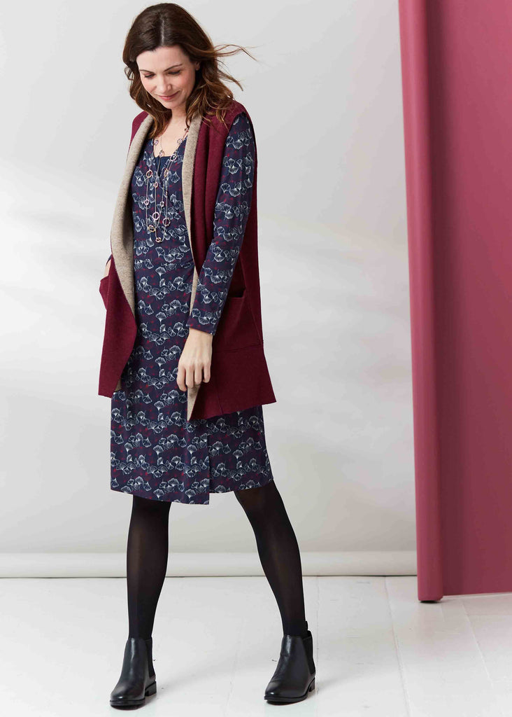 Su Jersey Long Sleeve Velcro Wrap Dress - Gingko Print Navy