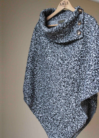 Suki Wool Pull On Poncho - Grey/Black