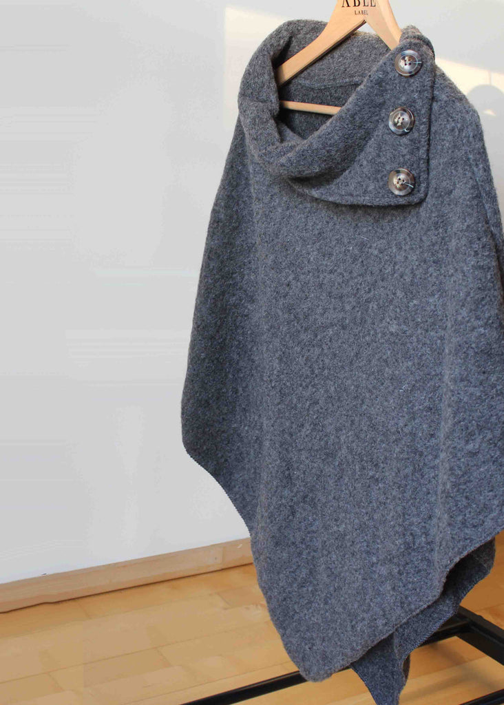 Suki Wool Pull On Poncho - Grey