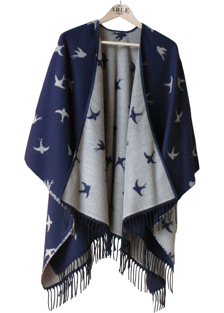 Swallows Knitted Wrap - Navy