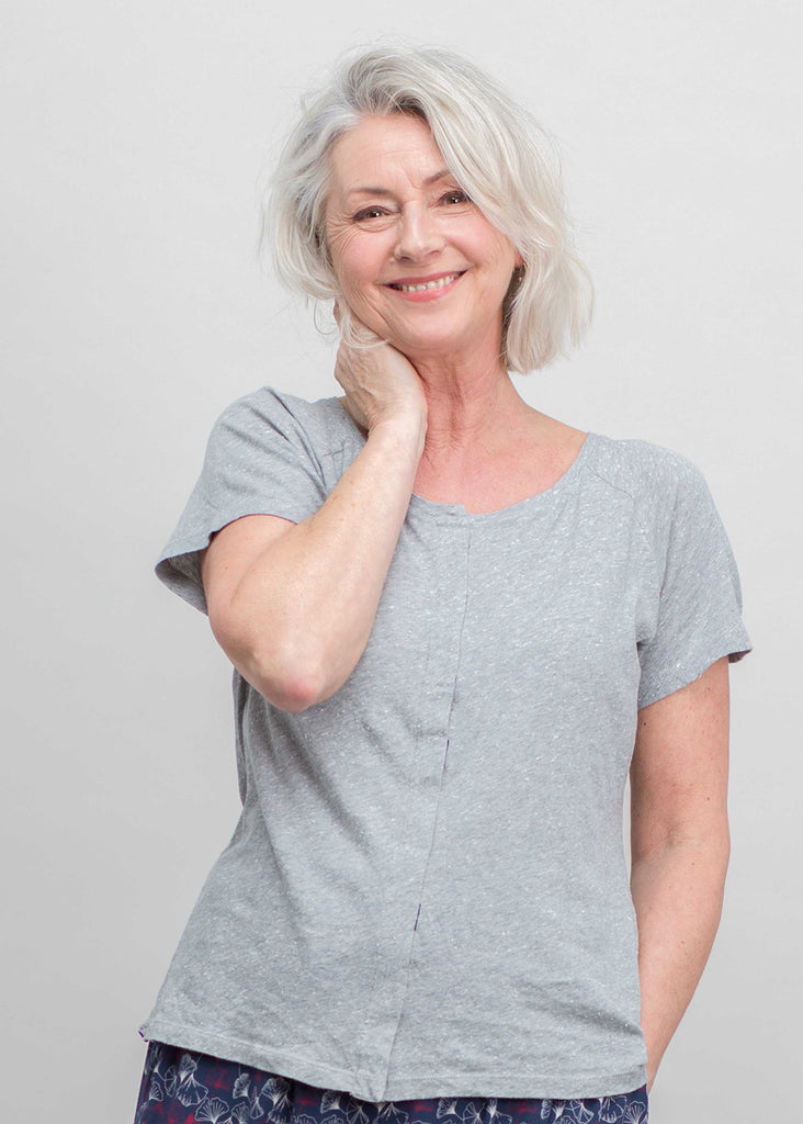 Tabatha Pure Cotton Short Sleeve Velcro Tee - Grey: VAT Exempt