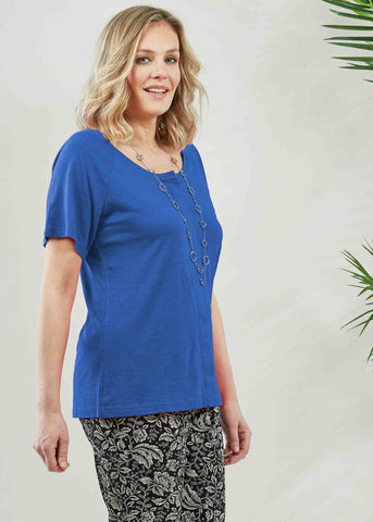 Tabatha Pure Cotton Short Sleeve Velcro Tee - Cobalt