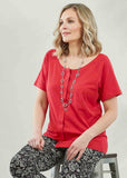 Tabatha Pure Cotton Short Sleeve Velcro Tee - Hibiscus