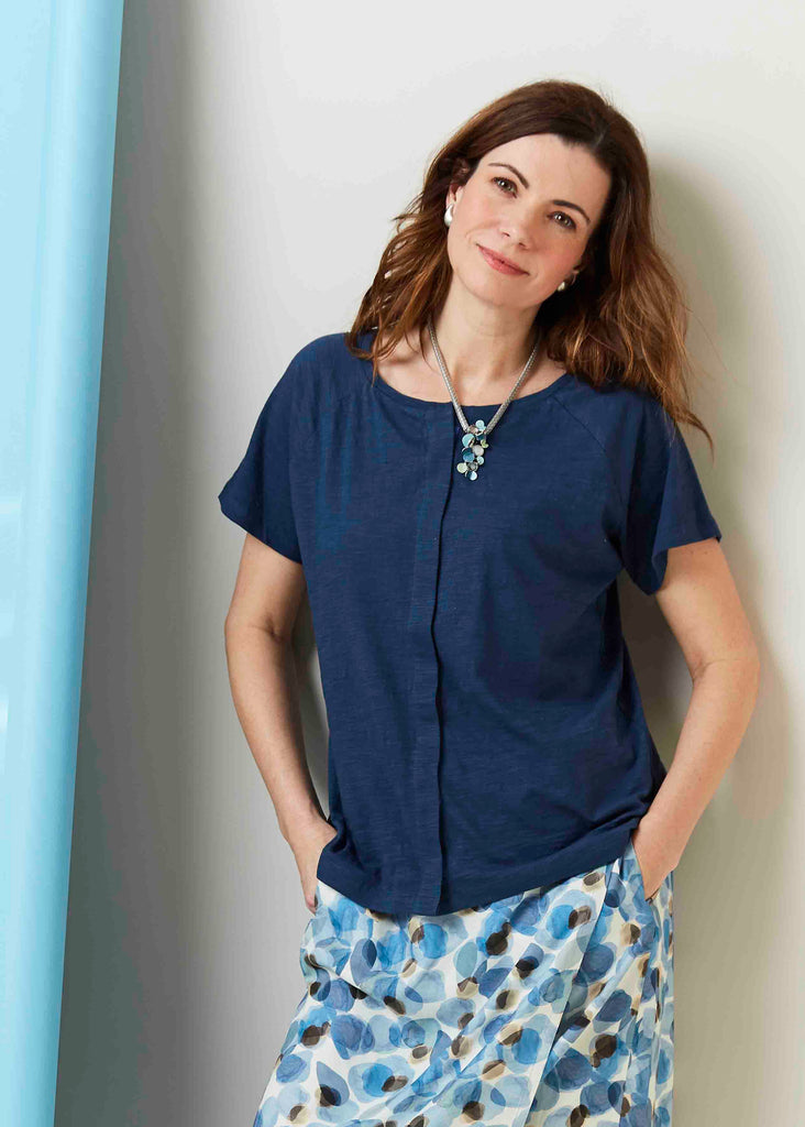 Tabatha Pure Cotton Short Sleeve Velcro Tee - Navy: VAT Exempt