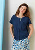 Tabatha Pure Cotton Short Sleeve Velcro Tee - Navy