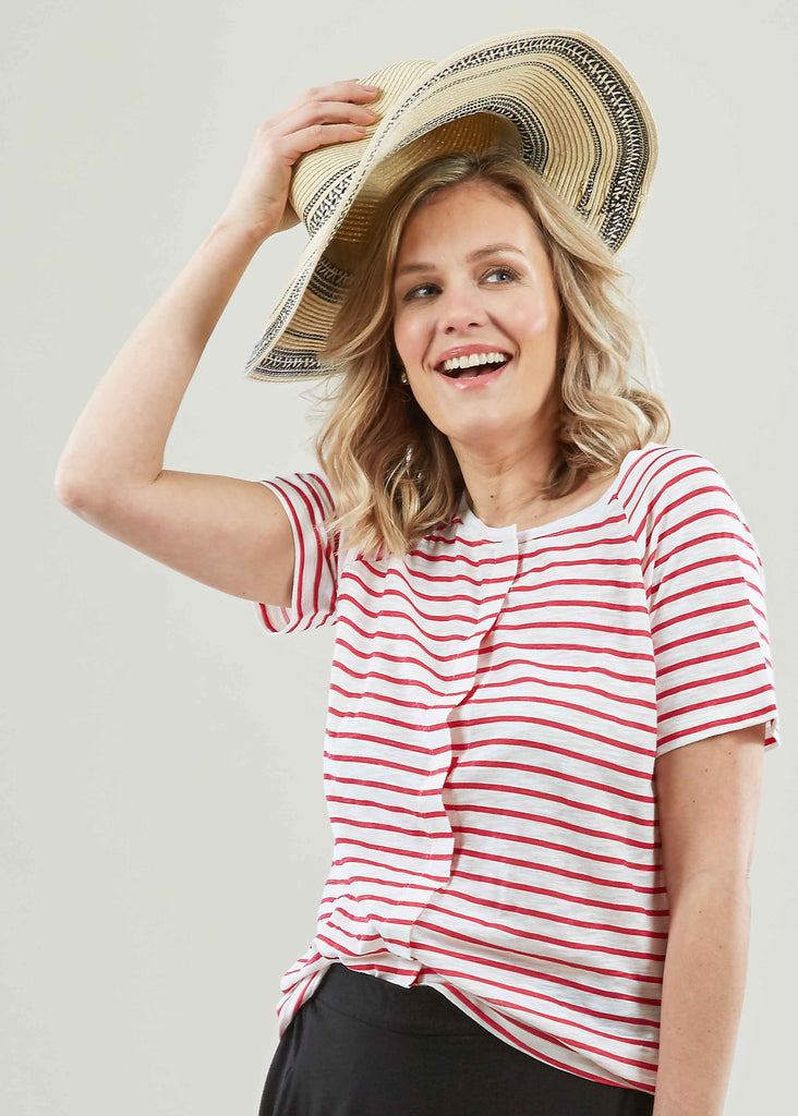 Tabatha Pure Cotton Short Sleeve Velcro Tee - Paradise Pink Stripe