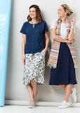 Delia A-Line Linen Look Velcro Wrap Skirt - Navy: VAT Exempt