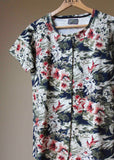 Tabatha Pure Cotton Short Sleeve Velcro Tee - Floral Print
