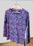 Tabby Pure Cotton Long Sleeve Velcro Tee - Royal Floral