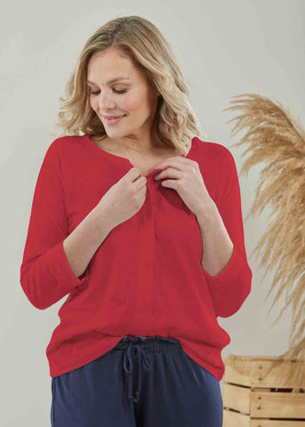Tabby Pure Cotton Long Sleeve Velcro Tee - Hibiscus