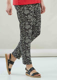 Tapered Floral Jersey Pull On Trousers - Black