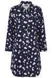 Julia Brushed Pure Cotton Long Sleeve Nightdress - Navy