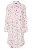 Julia Brushed Pure Cotton Long Sleeve Nightdress - Pink Peony