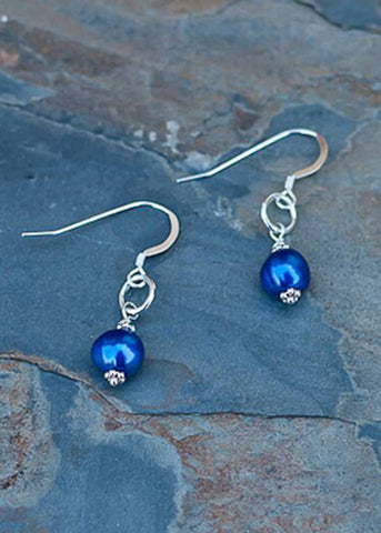 Eve Pearl Drop Earrings - Shibori Navy