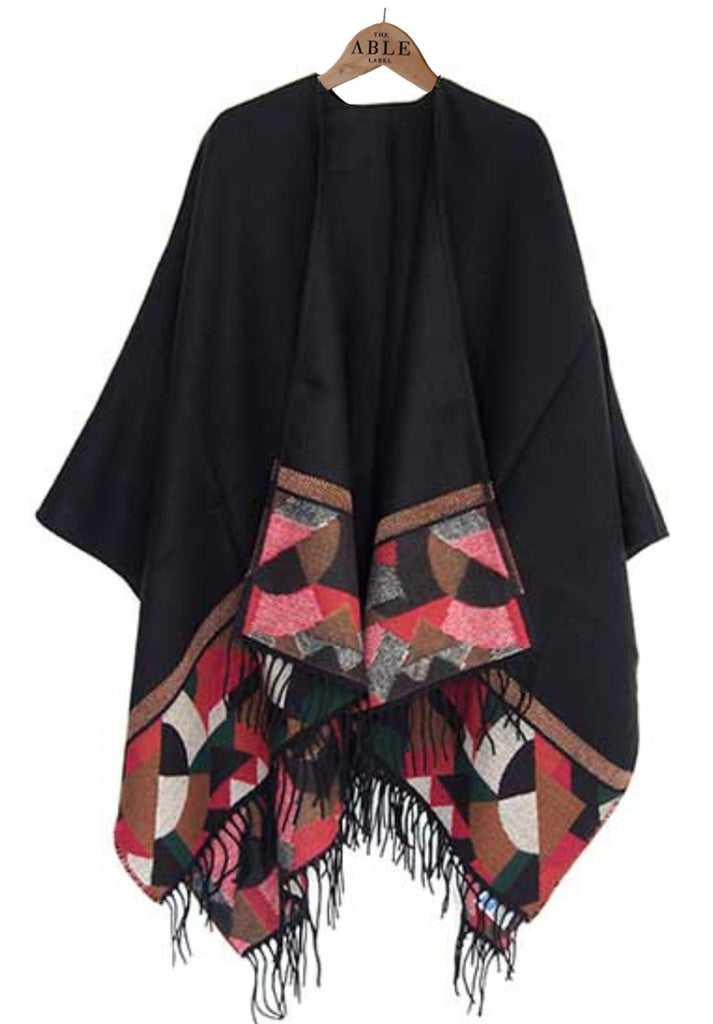 Lorna Knitted Wrap - Black