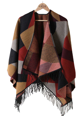 Lianne Knitted Wrap - Dragon Red