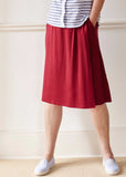 Debbie A-Line Jersey Wrap Velcro Skirt - Dragon Red