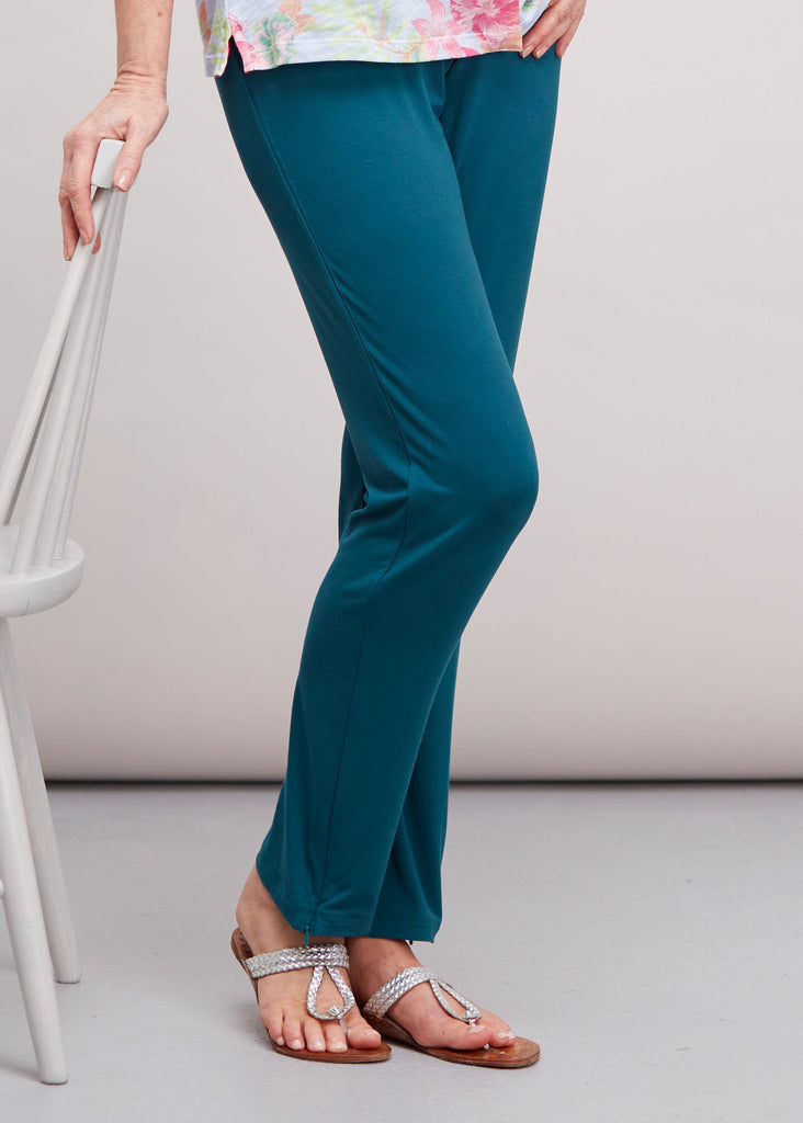 Frankie Straight Leg Jersey Pull On Trousers - Deep Teal (Short Length)