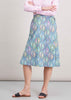 Tilly Cotton Rich A-Line Midi Velcro Wrap Skirt - Slate