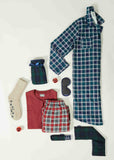 Luke Brushed Pure Cotton Velcro Shirt & Pull On Bottoms PJ Set - Red Check: VAT Exempt