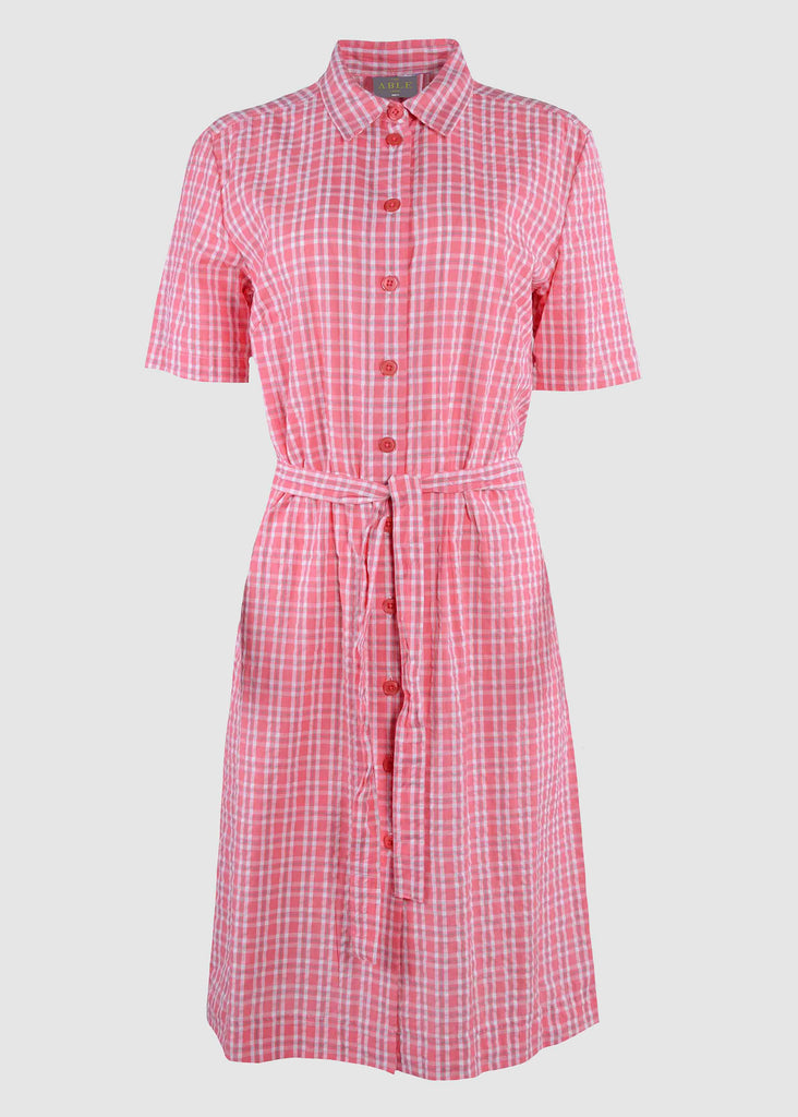 Carmel Pure Cotton SS Woven Check Velcro Shirt Dress - Coral