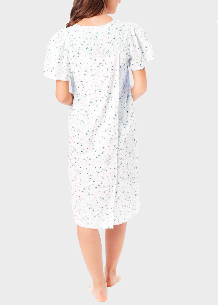 Jade Floral Open Back Short Sleeve Nightdress - Med Blue