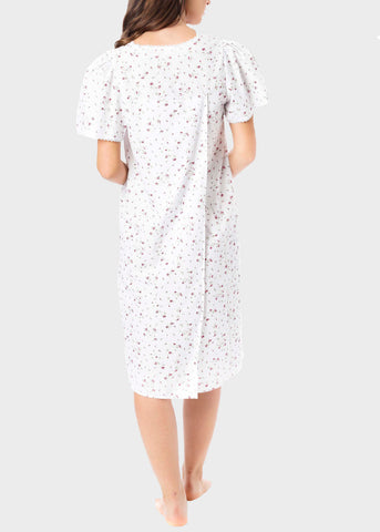 Jade Floral Open Back Short Sleeve Nightdress - Berry