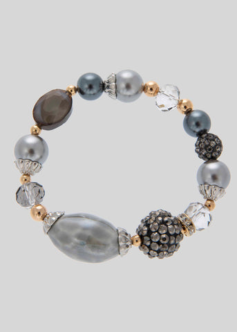Ellis Pearl Mix Stretch Bracelet - Taupe