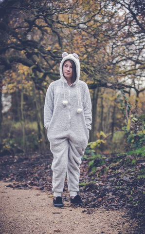 Ladies Teddy Bear Grey & White Onesie