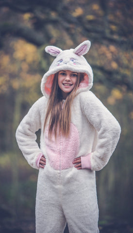 Kids Bunny Rabbit Cream Fluffy Onesie