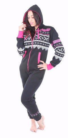 Women's Black/Pink Aztec Tracksuit Onesie (Limited Edition)