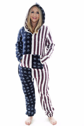 American Stars and Stripes USA Tracksuit Women's Onesie