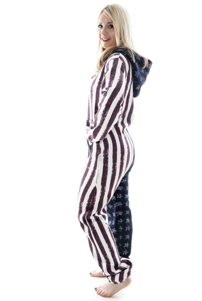 298a5168478c ... American Stars and Stripes USA Tracksuit Women s Onesie - Onesie  Warehouse