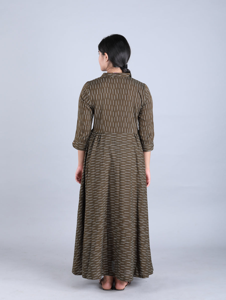 Olive Green Ikat Long Handwoven Cotton Dress
