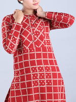 Red Checkered Handwoven Cotton Kurta