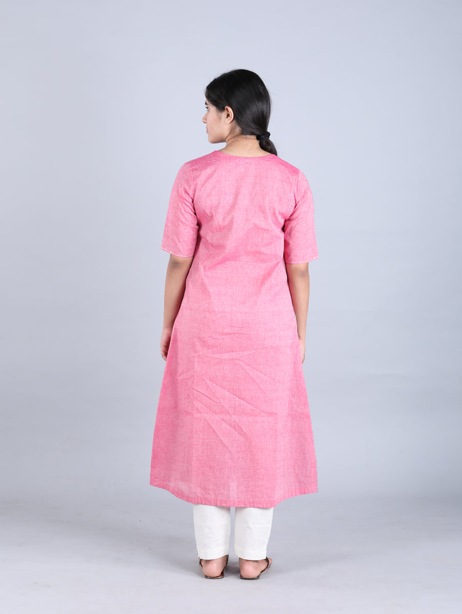 Pink Block Printed Angrakha Handwoven Cotton Kurta