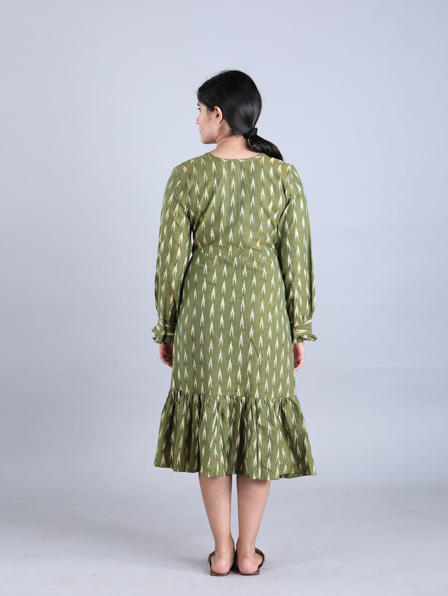 Olive Green Ikat Handwoven Cotton Dress