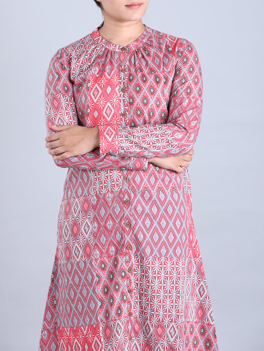 Red Block Printed Handwoven Cotton Dress