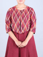 Maroon Handwoven Cotton Dress with Ikat print Jacket