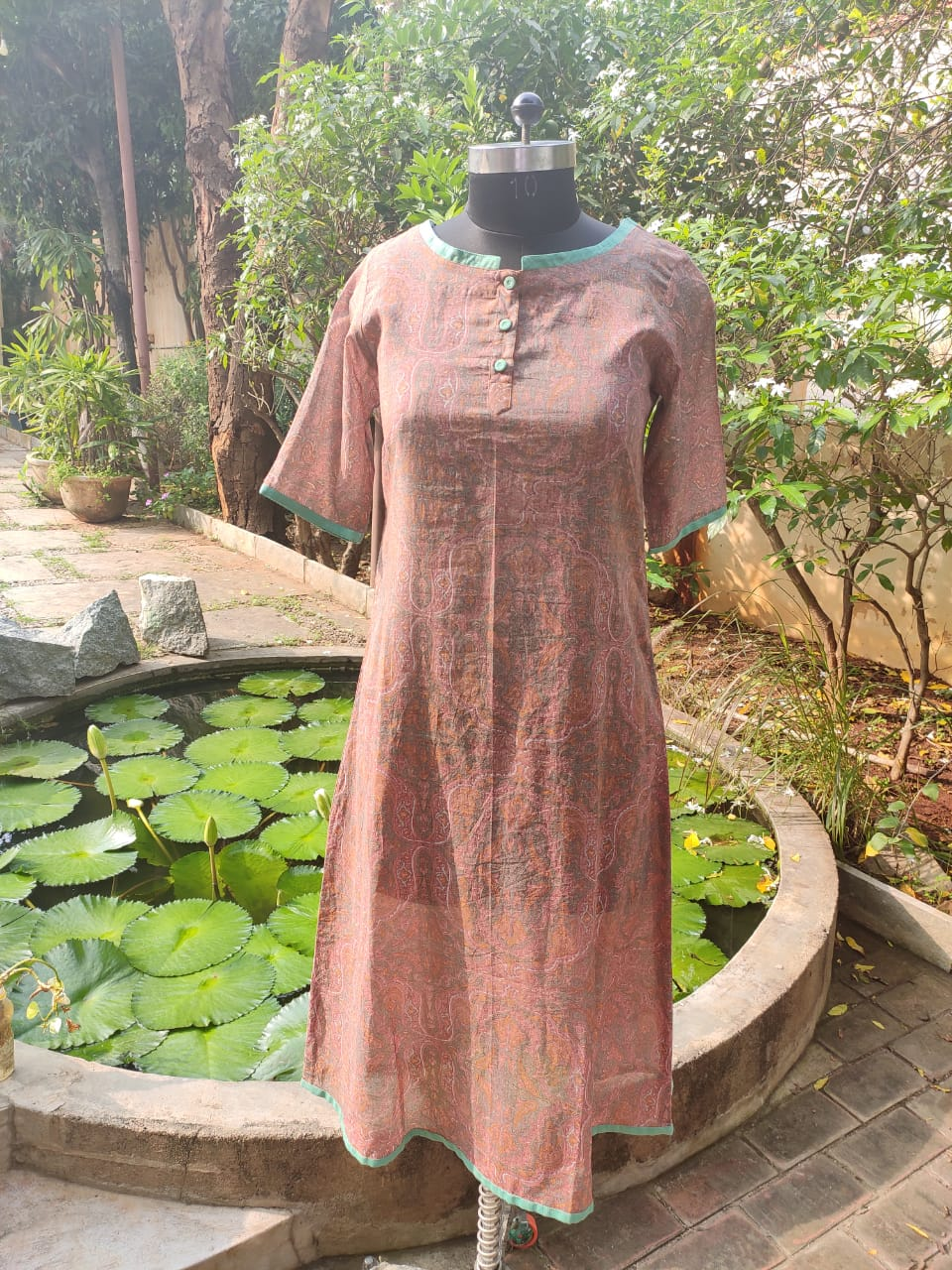 Blockprinted Brown & Green Cotton Kurta