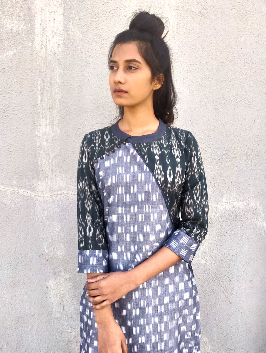 Black and Grey Handwoven Cotton Ikat Kurta