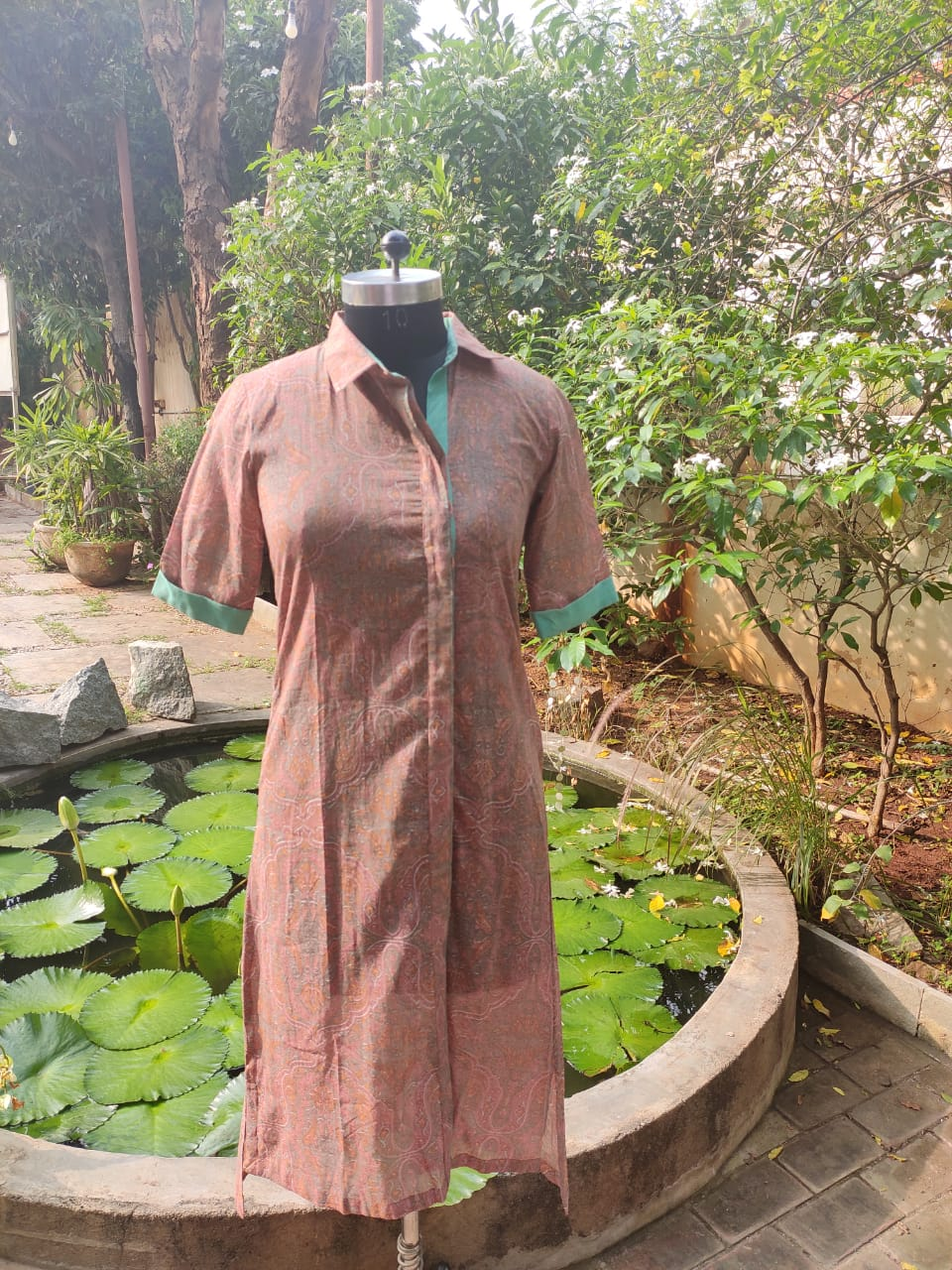 Blockprinted Brown and Green A-line Cotton Kurta