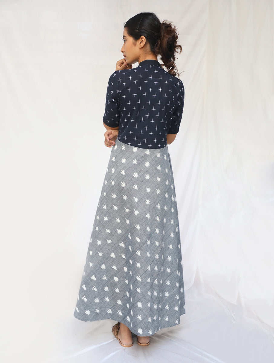 Grey and Black Handwoven Cotton Ikat Dress