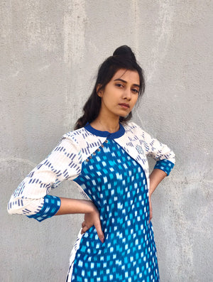 Blue and White Handwoven Cotton Ikat Kurta