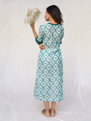 Green Handwoven Cotton Ikat Dress